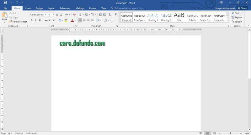 cara membuat daftar isi word 1-1